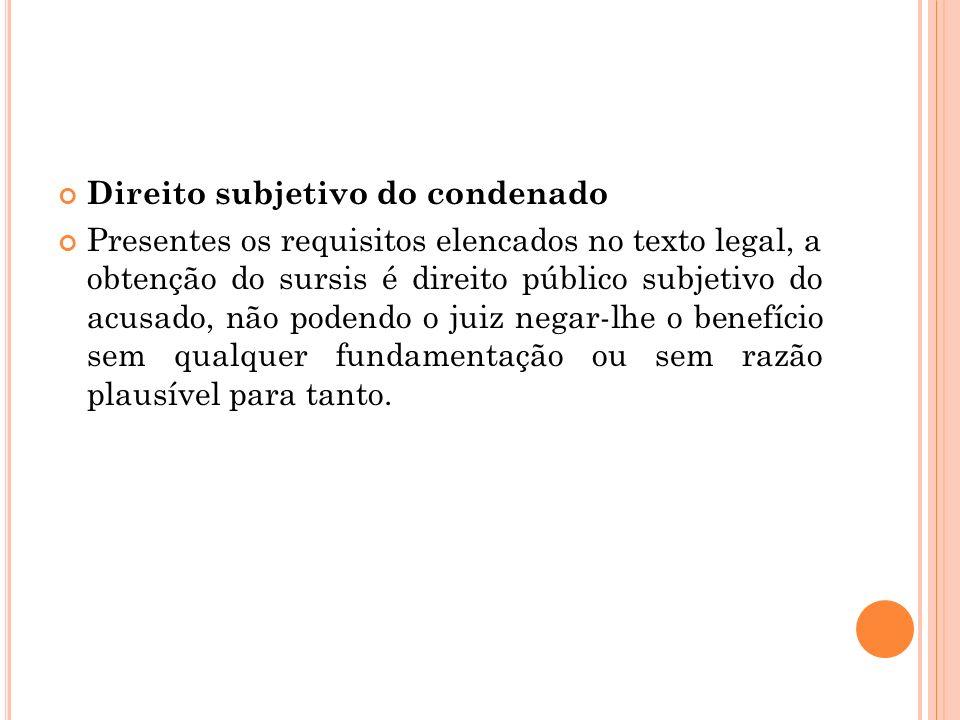 Direito subjetivo do condenado Presentes os requisitos elencados no texto legal, a obtenção do sursis é direito público subjetivo do acusado, não pode