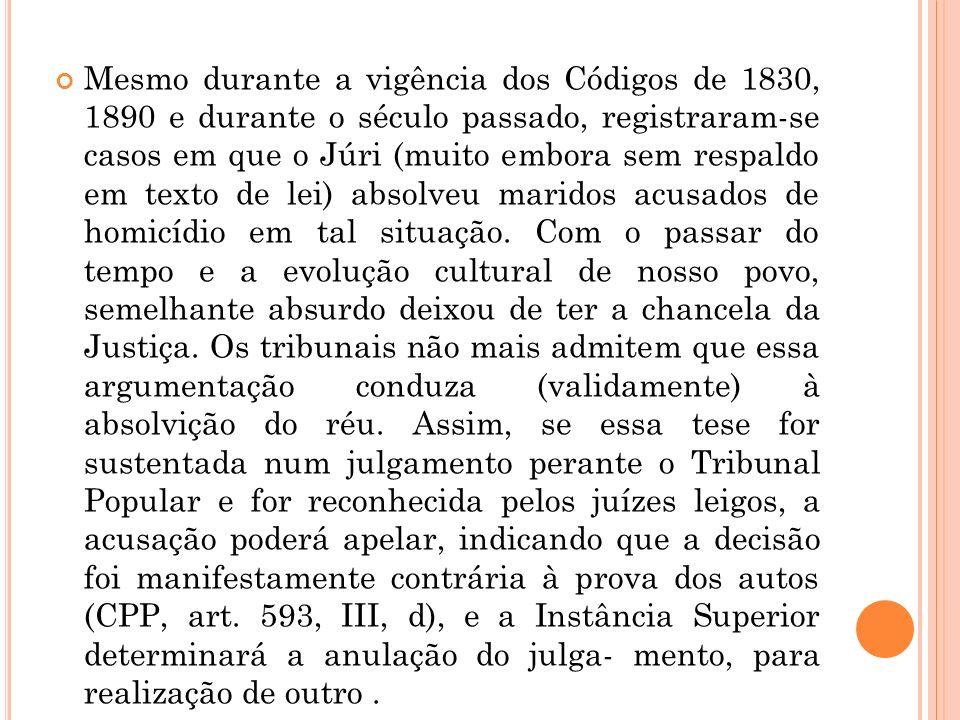 Mesmo durante a vigência dos Códigos de 1830, 1890 e durante o século passado, registraram-se casos em que o Júri (muito embora sem respaldo em texto
