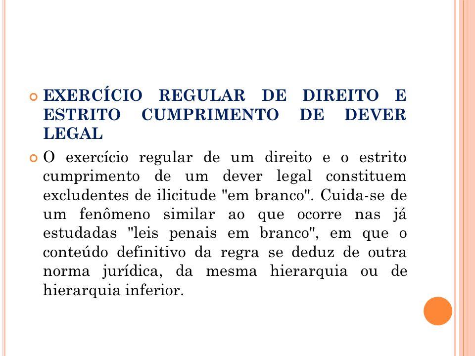 EXERCÍCIO REGULAR DE DIREITO E ESTRITO CUMPRIMENTO DE DEVER LEGAL O exercício regular de um direito e o estrito cumprimento de um dever legal constitu