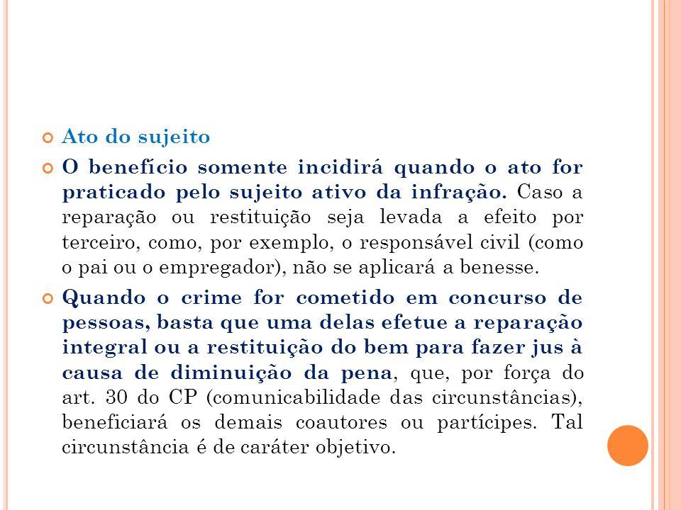 Ato do sujeito O benefício somente incidirá quando o ato for praticado pelo sujeito ativo da infração. Caso a reparação ou restituição seja levada a e