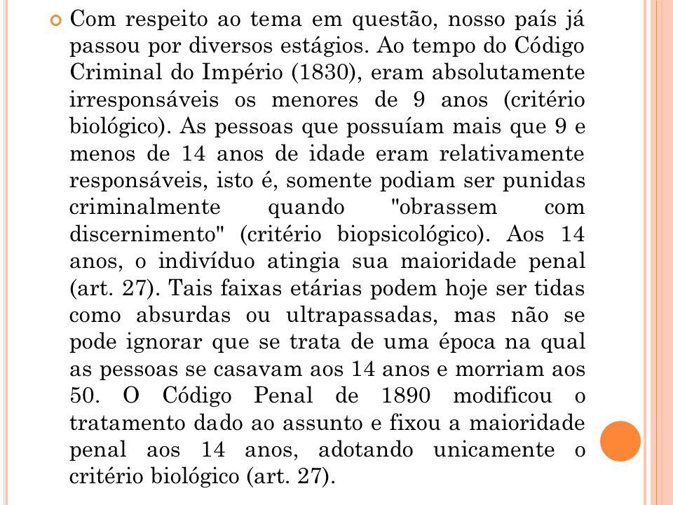 Com respeito ao tema em questão, nosso país já passou por diversos estágios. Ao tempo do Código Criminal do Império (1830), eram absolutamente irrespo