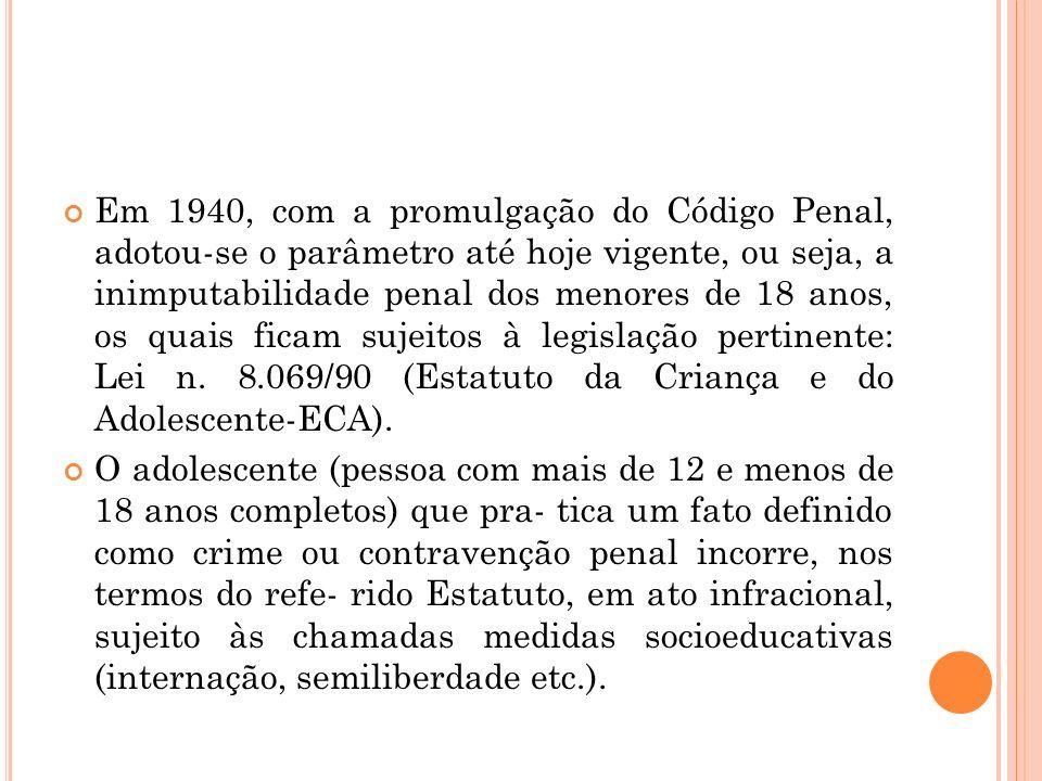 Em 1940, com a promulgação do Código Penal, adotou-se o parâmetro até hoje vigente, ou seja, a inimputabilidade penal dos menores de 18 anos, os quais