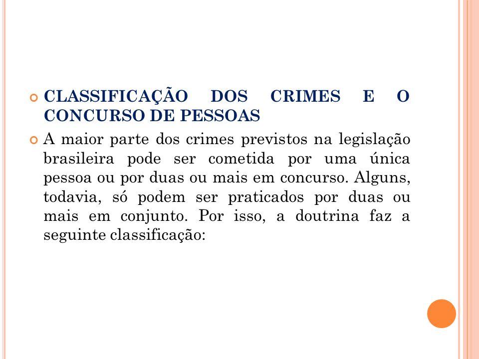 CLASSIFICAÇÃO DOS CRIMES E O CONCURSO DE PESSOAS A maior parte dos crimes previstos na legislação brasileira pode ser cometida por uma única pessoa ou