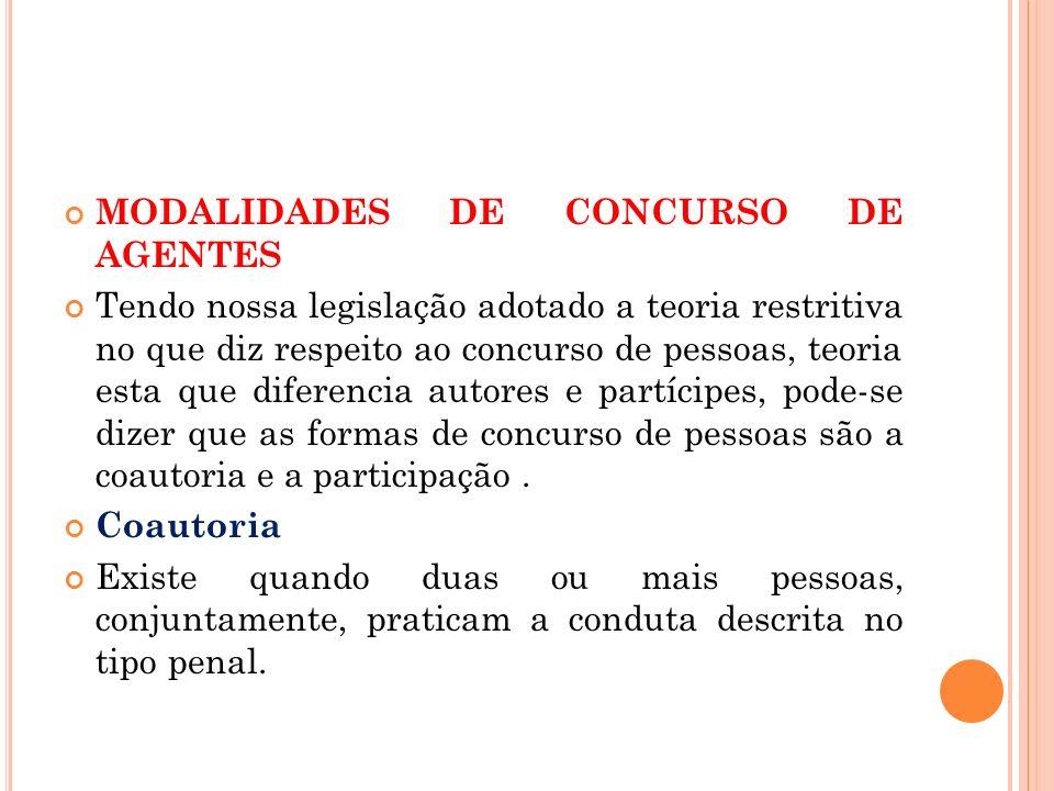 MODALIDADES DE CONCURSO DE AGENTES Tendo nossa legislação adotado a teoria restritiva no que diz respeito ao concurso de pessoas, teoria esta que dife