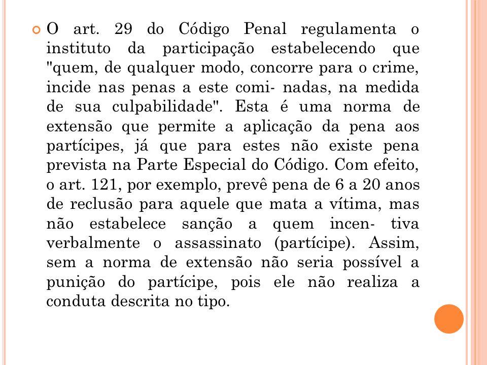 O art. 29 do Código Penal regulamenta o instituto da participação estabelecendo que
