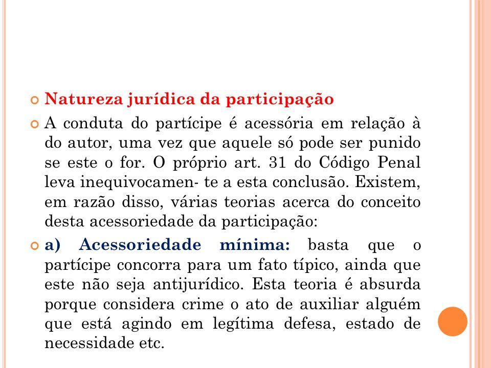 Natureza jurídica da participação A conduta do partícipe é acessória em relação à do autor, uma vez que aquele só pode ser punido se este o for. O pró
