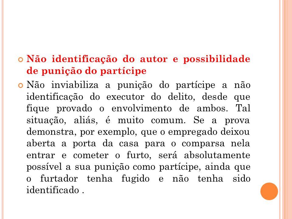 Não identificação do autor e possibilidade de punição do partícipe Não inviabiliza a punição do partícipe a não identificação do executor do delito, d