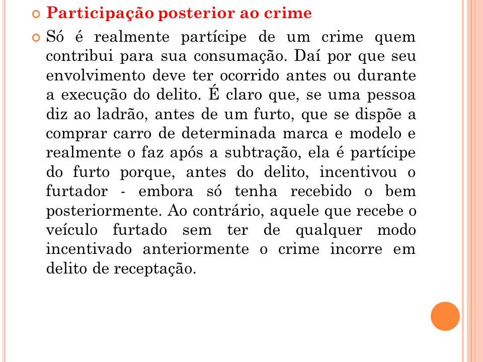 Participação posterior ao crime Só é realmente partícipe de um crime quem contribui para sua consumação. Daí por que seu envolvimento deve ter ocorrid