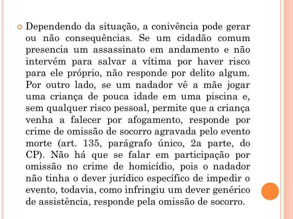 Dependendo da situação, a conivência pode gerar ou não consequências. Se um cidadão comum presencia um assassinato em andamento e não intervém para sa