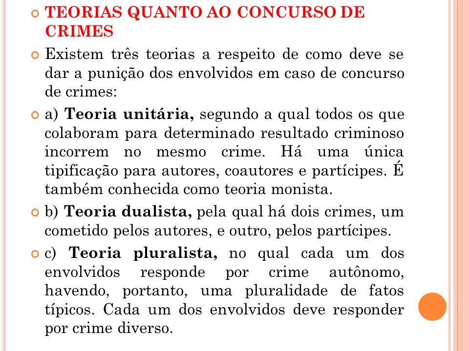 TEORIAS QUANTO AO CONCURSO DE CRIMES Existem três teorias a respeito de como deve se dar a punição dos envolvidos em caso de concurso de crimes: a) Te
