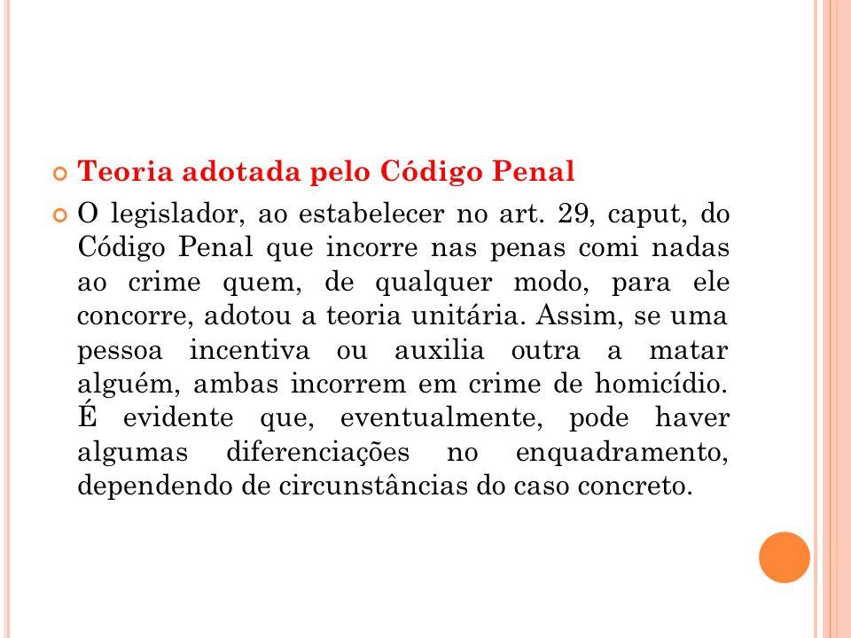 Teoria adotada pelo Código Penal O legislador, ao estabelecer no art. 29, caput, do Código Penal que incorre nas penas comi nadas ao crime quem, de qu