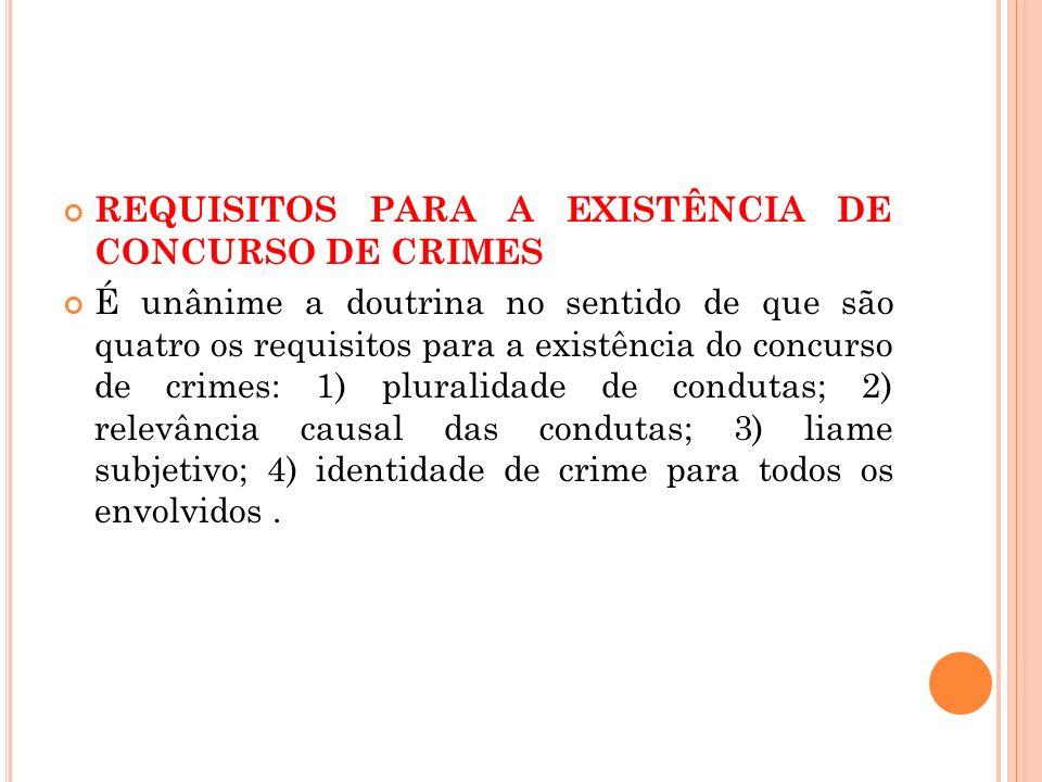 REQUISITOS PARA A EXISTÊNCIA DE CONCURSO DE CRIMES É unânime a doutrina no sentido de que são quatro os requisitos para a existência do concurso de cr