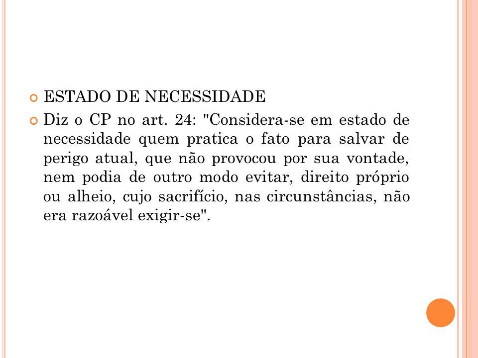 ESTADO DE NECESSIDADE Diz o CP no art. 24: