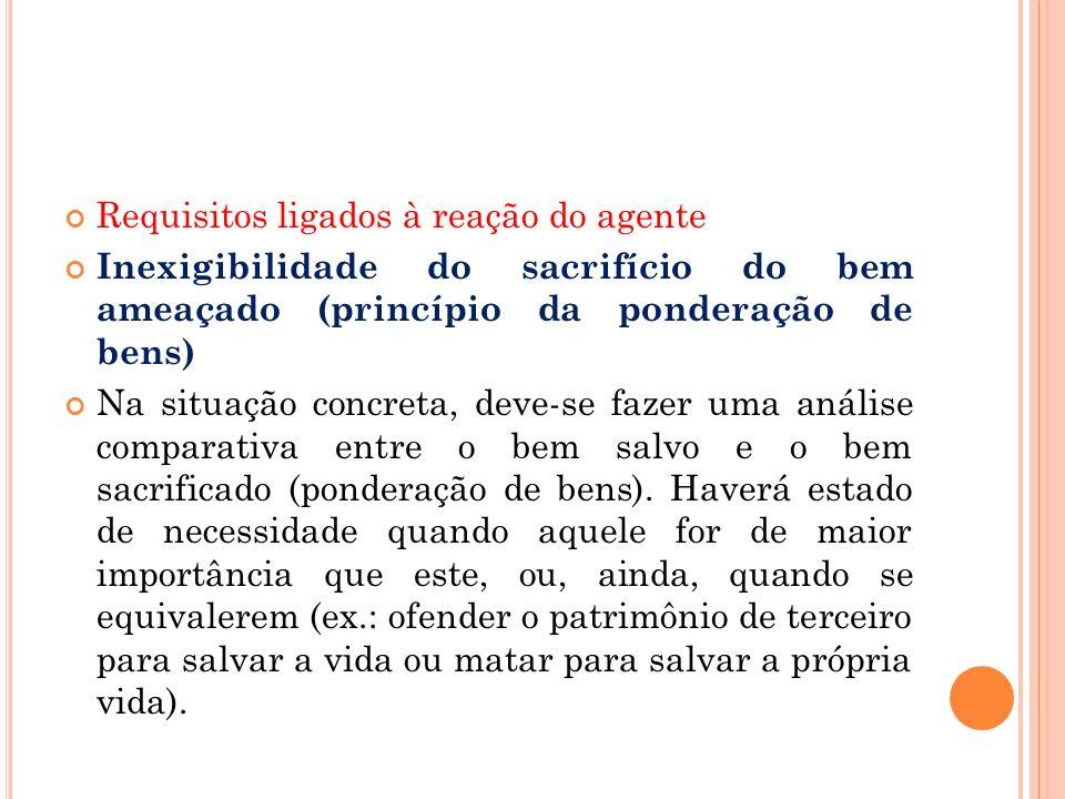 Requisitos ligados à reação do agente Inexigibilidade do sacrifício do bem ameaçado (princípio da ponderação de bens) Na situação concreta, deve-se fa