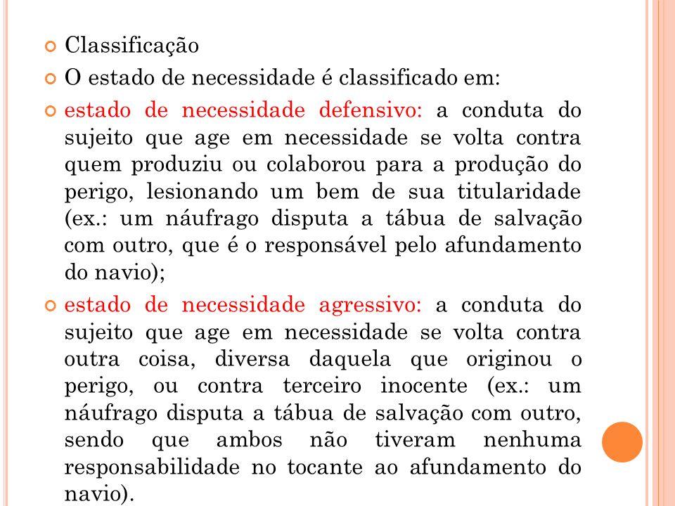 Classificação O estado de necessidade é classificado em: estado de necessidade defensivo: a conduta do sujeito que age em necessidade se volta contra