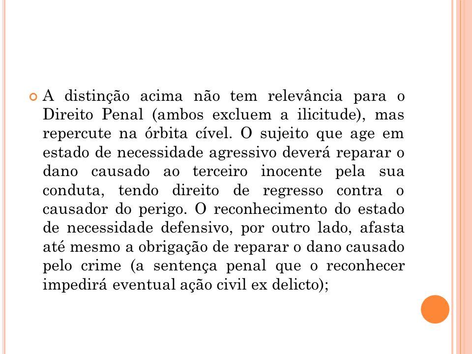 A distinção acima não tem relevância para o Direito Penal (ambos excluem a ilicitude), mas repercute na órbita cível. O sujeito que age em estado de n