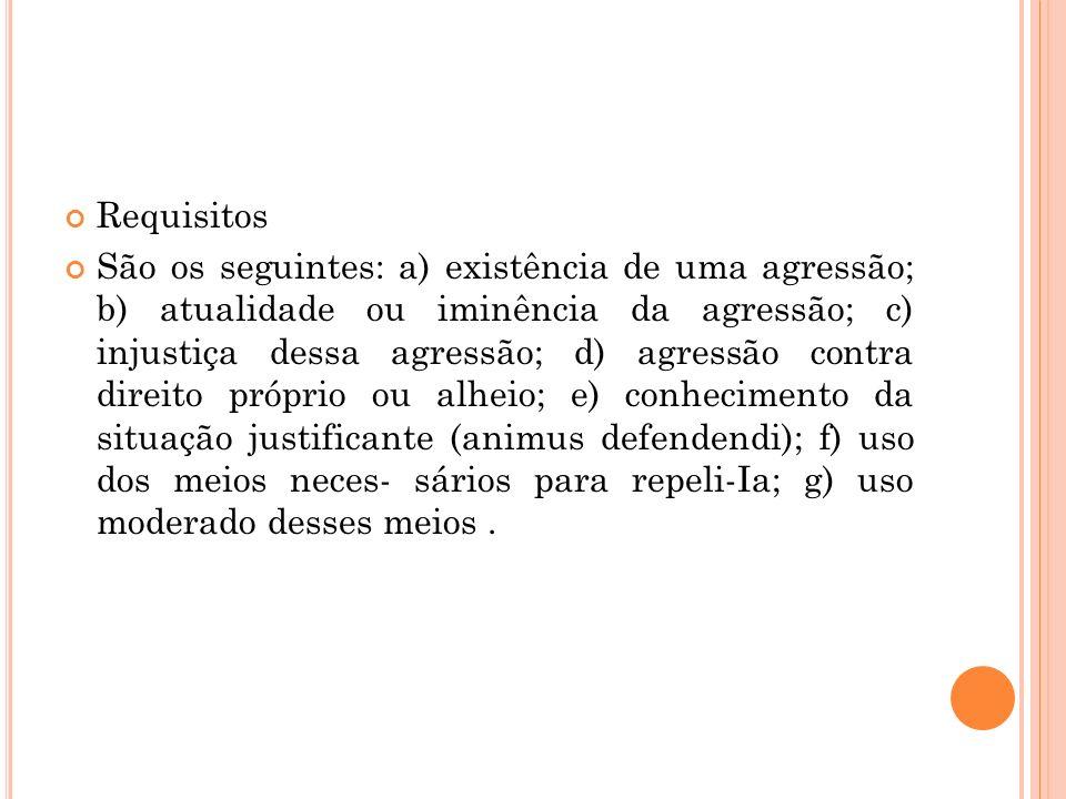 Requisitos São os seguintes: a) existência de uma agressão; b) atualidade ou iminência da agressão; c) injustiça dessa agressão; d) agressão contra di