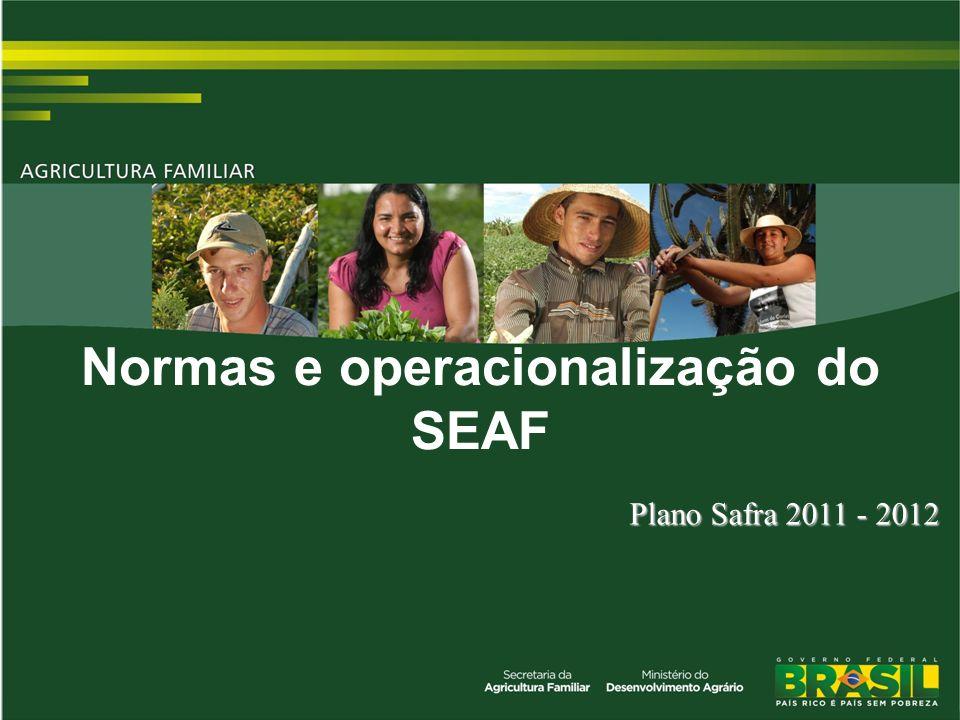 TÍTULO Plano Safra 2011 - 2012 Normas e operacionalização do SEAF