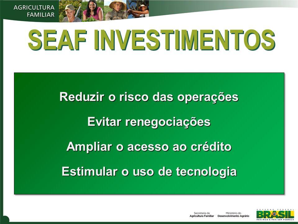 SEAF INVESTIMENTOS Reduzir o risco das operações Evitar renegociações Ampliar o acesso ao crédito Estimular o uso de tecnologia Reduzir o risco das op