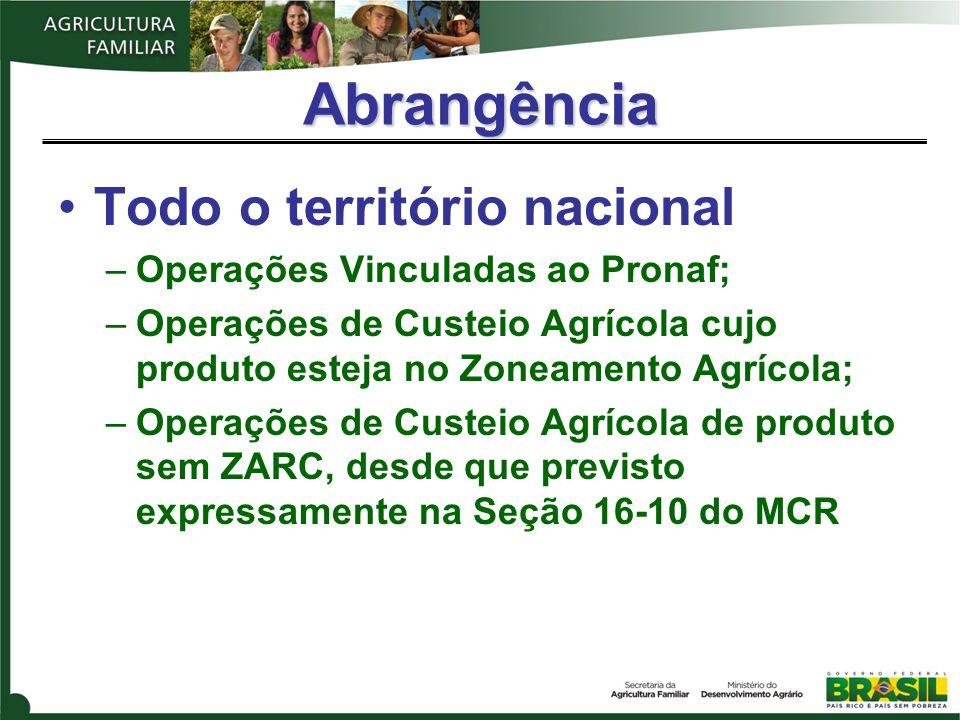 Abrangência Todo o território nacional –Operações Vinculadas ao Pronaf; –Operações de Custeio Agrícola cujo produto esteja no Zoneamento Agrícola; –Op