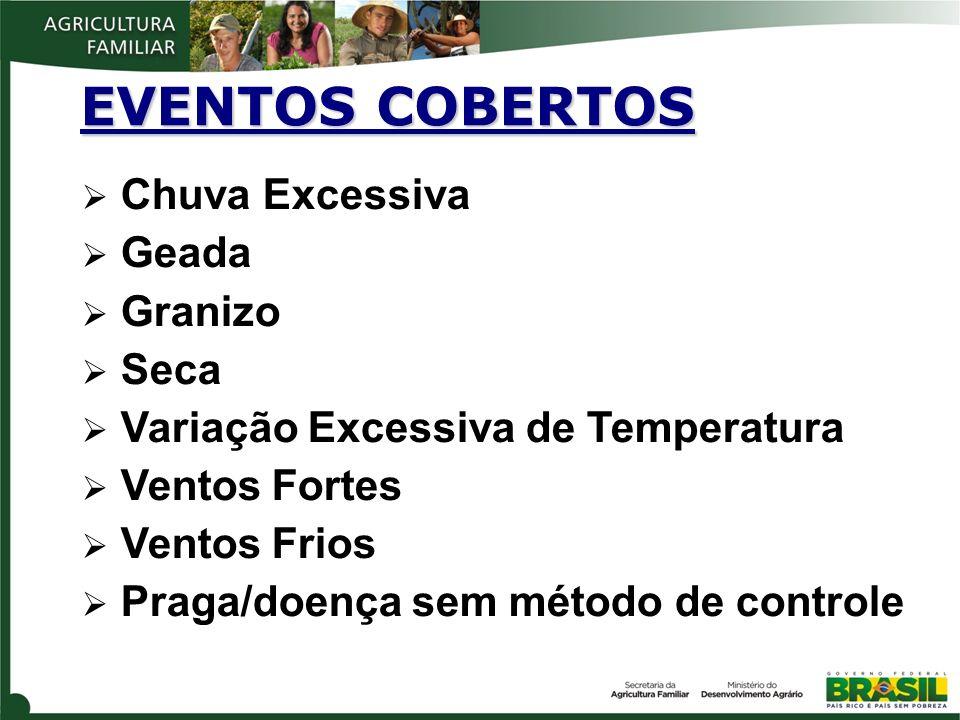 EVENTOS COBERTOS Chuva Excessiva Geada Granizo Seca Variação Excessiva de Temperatura Ventos Fortes Ventos Frios Praga/doença sem método de controle