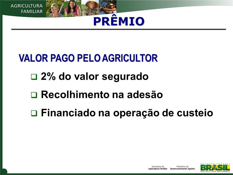 VALOR PAGO PELO AGRICULTOR 2% do valor segurado Recolhimento na adesão Financiado na operação de custeio PRÊMIO