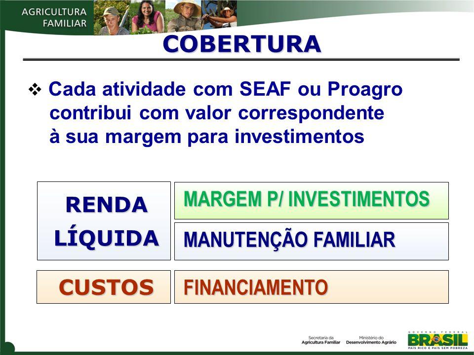 COBERTURA FINANCIAMENTO MANUTENÇÃO FAMILIAR MARGEM P/ INVESTIMENTOS CUSTOS RENDALÍQUIDA Cada atividade com SEAF ou Proagro contribui com valor corresp