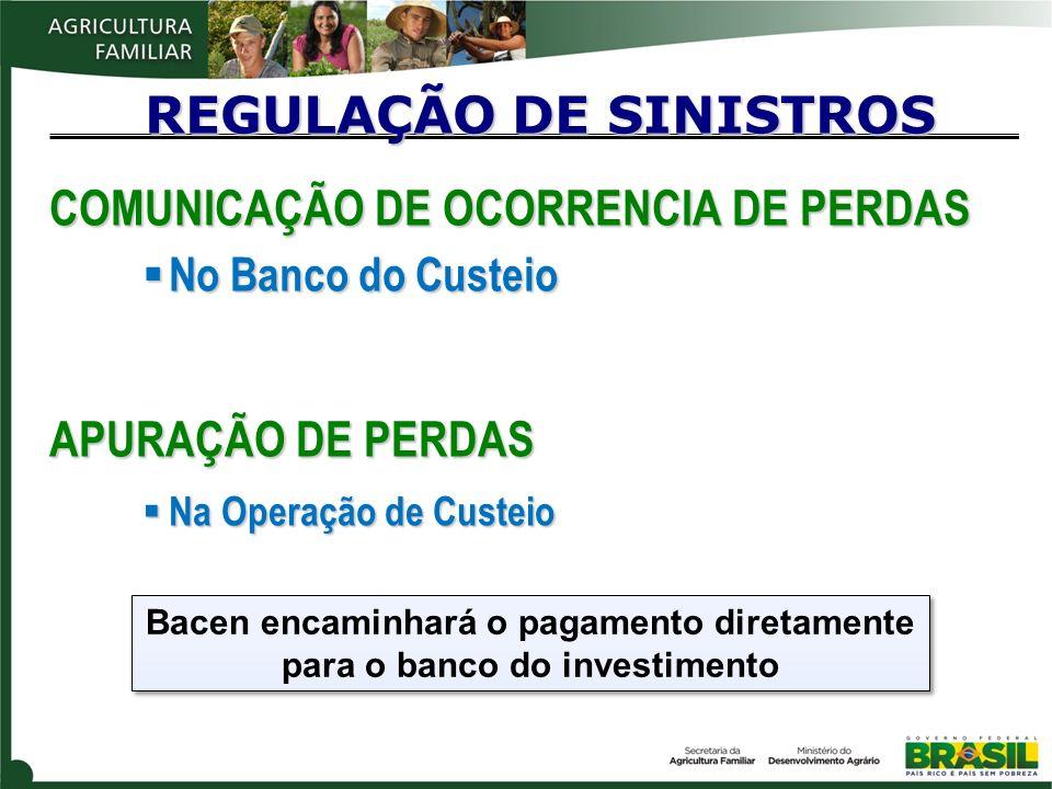 COMUNICAÇÃO DE OCORRENCIA DE PERDAS No Banco do Custeio No Banco do Custeio APURAÇÃO DE PERDAS Na Operação de Custeio Na Operação de Custeio REGULAÇÃO