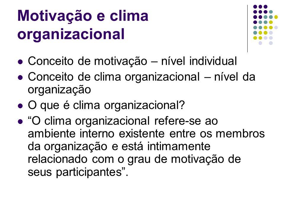 O clima organizacional pode ser: Favorável: quando proporciona satisfação das necessidades pessoais dos participantes e elevação da moral.