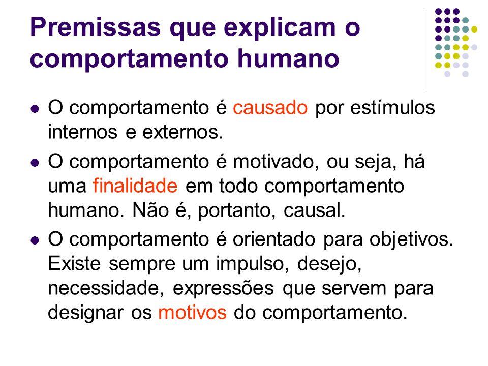 Modelo básico de motivação A motivação depende: Percepção do estímulo / causa: que varia conforme a pessoa e na mesma pessoa conforme o tempo Necessidade / desejo: varia conforme a pessoa Cognição: varia conforme a pessoa