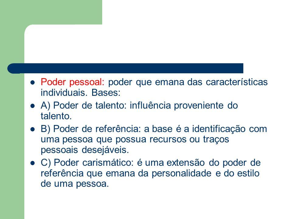 Poder pessoal: poder que emana das características individuais. Bases: A) Poder de talento: influência proveniente do talento. B) Poder de referência: