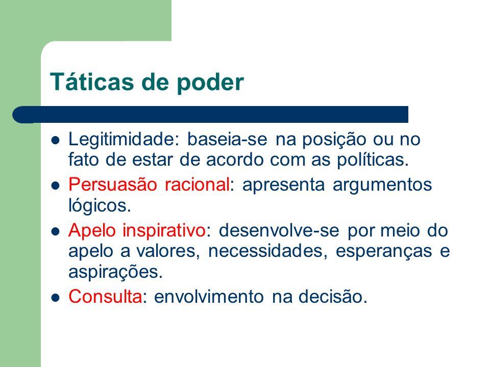 Táticas de poder Legitimidade: baseia-se na posição ou no fato de estar de acordo com as políticas. Persuasão racional: apresenta argumentos lógicos.