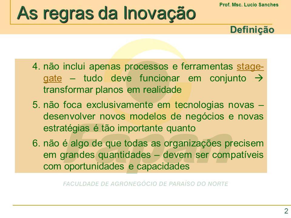 As regras da Inovação As regras da Inovação Prof.Msc.