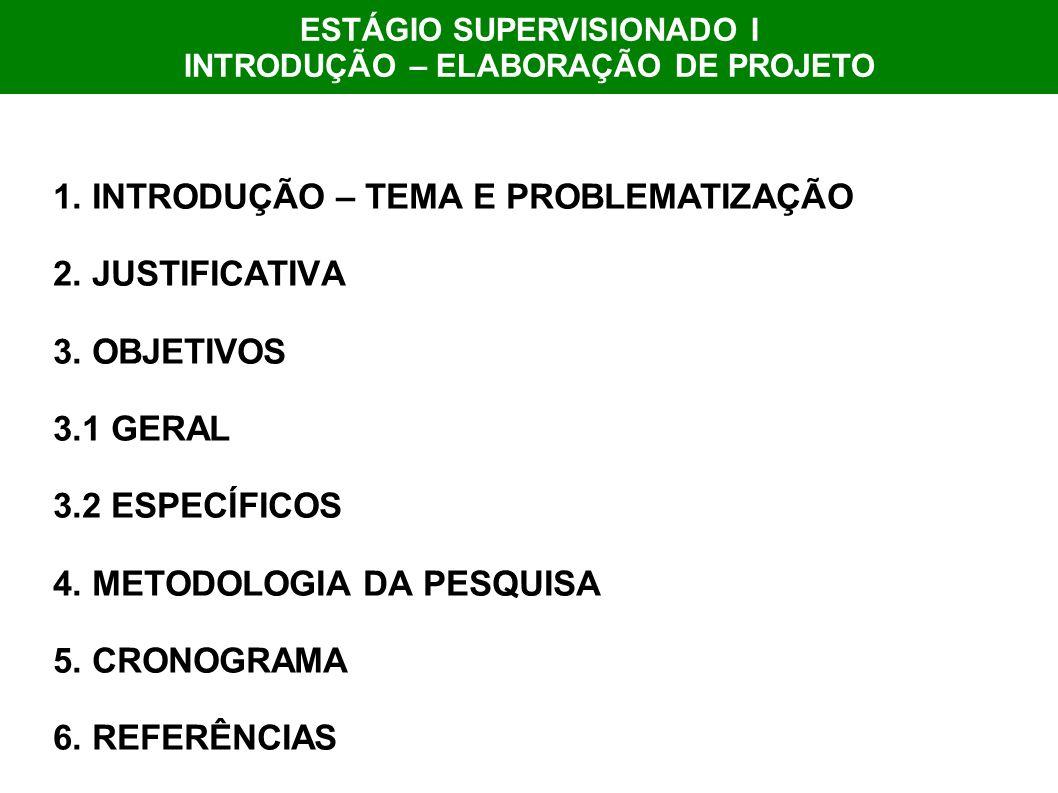 1. INTRODUÇÃO – TEMA E PROBLEMATIZAÇÃO 2. JUSTIFICATIVA 3. OBJETIVOS 3.1 GERAL 3.2 ESPECÍFICOS 4. METODOLOGIA DA PESQUISA 5. CRONOGRAMA 6. REFERÊNCIAS