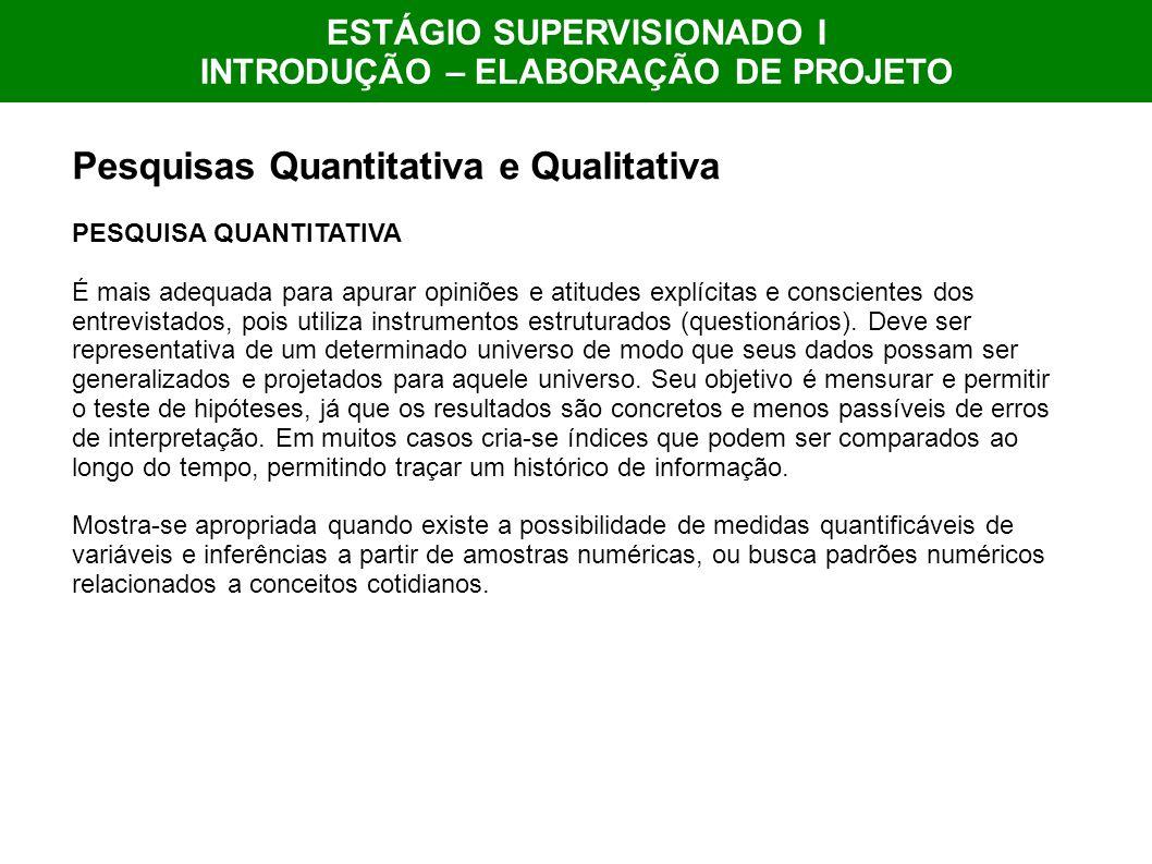 ESTÁGIO SUPERVISIONADO I INTRODUÇÃO – ELABORAÇÃO DE PROJETO Pesquisas Quantitativa e Qualitativa PESQUISA QUANTITATIVA É mais adequada para apurar opi