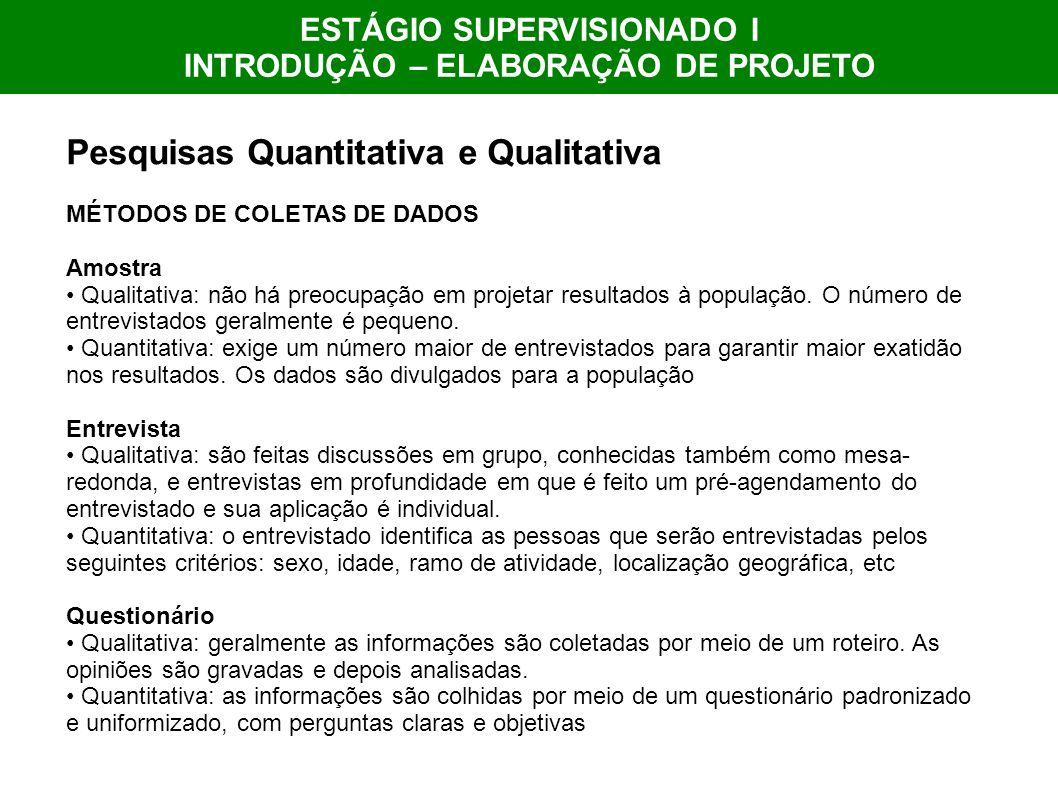 ESTÁGIO SUPERVISIONADO I INTRODUÇÃO – ELABORAÇÃO DE PROJETO Pesquisas Quantitativa e Qualitativa MÉTODOS DE COLETAS DE DADOS Amostra Qualitativa: não