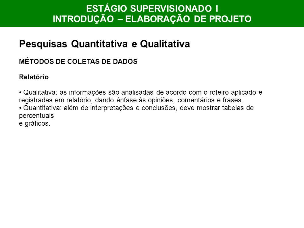 ESTÁGIO SUPERVISIONADO I INTRODUÇÃO – ELABORAÇÃO DE PROJETO Pesquisas Quantitativa e Qualitativa MÉTODOS DE COLETAS DE DADOS Relatório Qualitativa: as