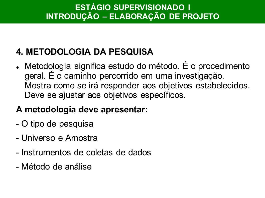 4. METODOLOGIA DA PESQUISA Metodologia significa estudo do método. É o procedimento geral. É o caminho percorrido em uma investigação. Mostra como se