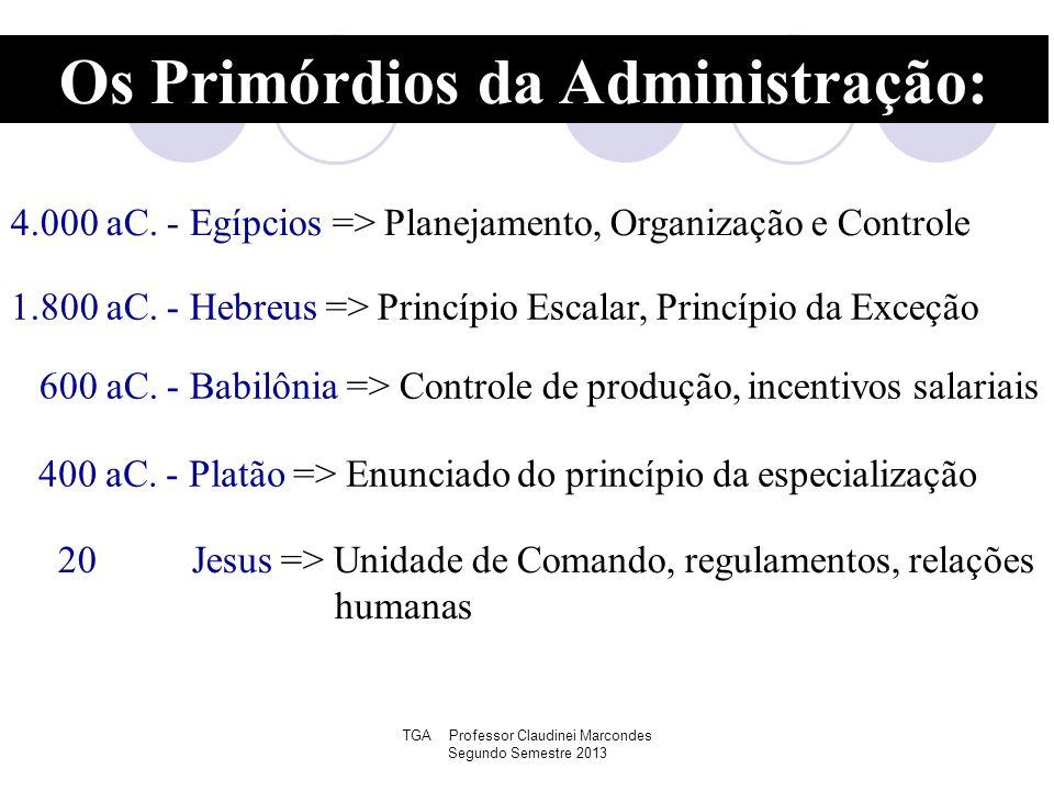 TGA Professor Claudinei Marcondes Segundo Semestre 2013 Os Primórdios da Administração: 4.000 aC. - Egípcios => Planejamento, Organização e Controle 1