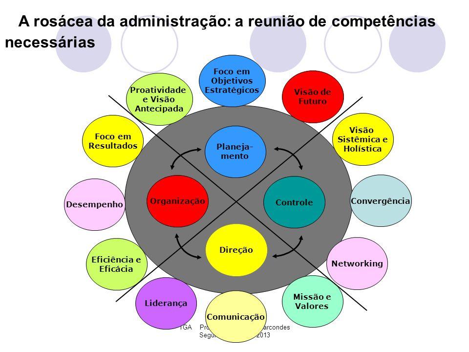 TGA Professor Claudinei Marcondes Segundo Semestre 2013 A rosácea da administração: a reunião de competências necessárias Foco em Resultados Missão e