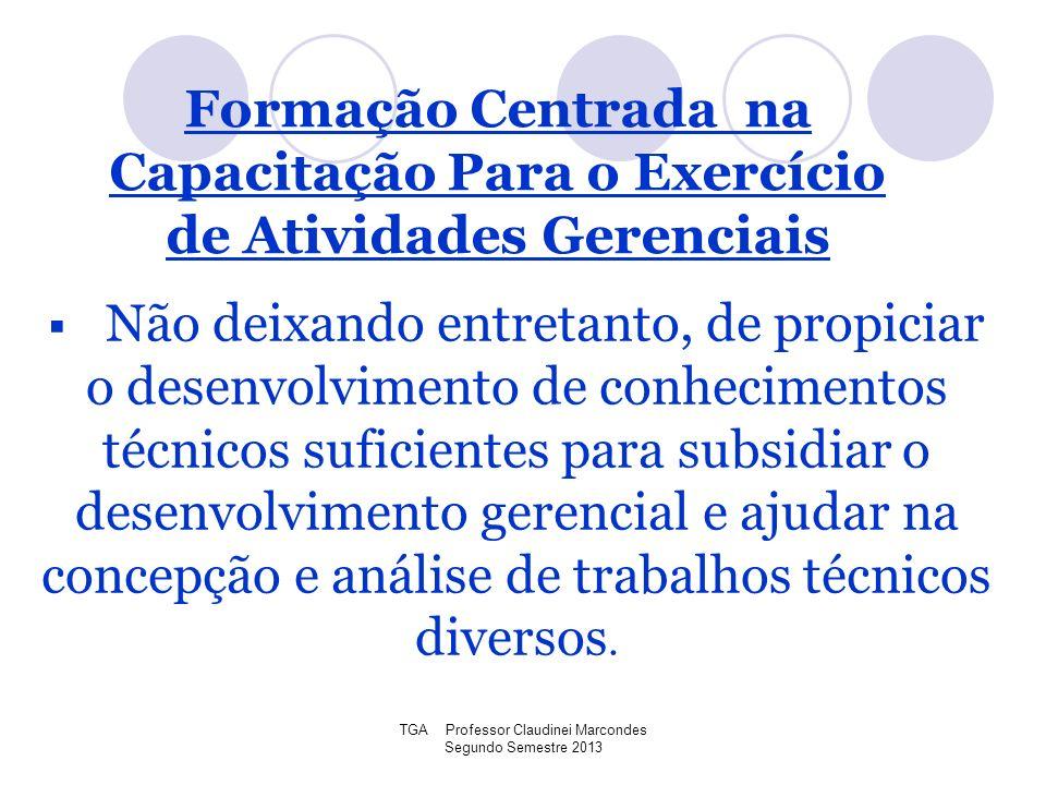 TGA Professor Claudinei Marcondes Segundo Semestre 2013 Não deixando entretanto, de propiciar o desenvolvimento de conhecimentos técnicos suficientes