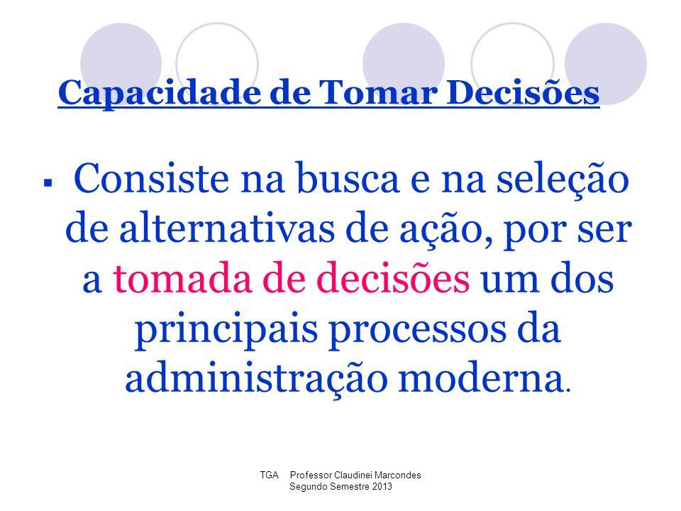 TGA Professor Claudinei Marcondes Segundo Semestre 2013 Consiste na busca e na seleção de alternativas de ação, por ser a tomada de decisões um dos pr