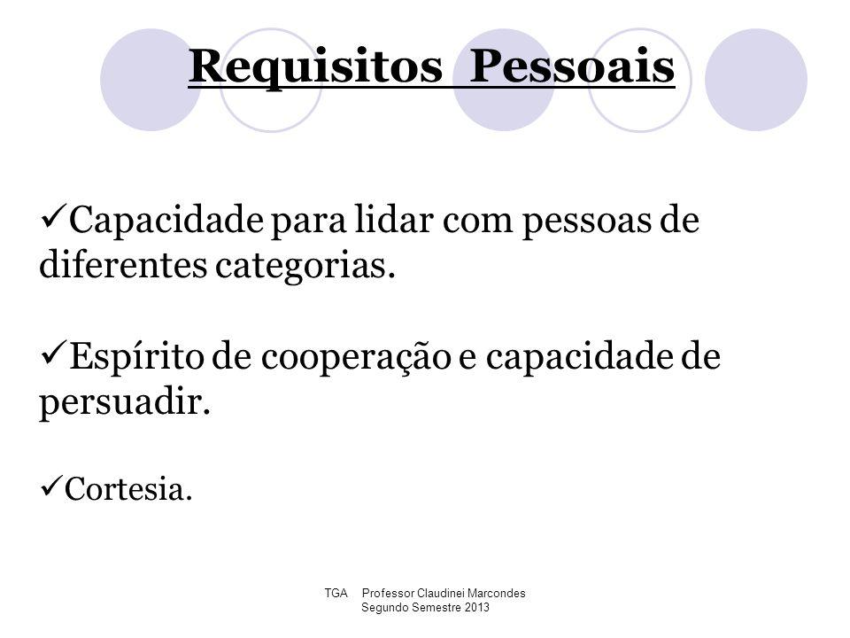 TGA Professor Claudinei Marcondes Segundo Semestre 2013 Capacidade para lidar com pessoas de diferentes categorias. Espírito de cooperação e capacidad