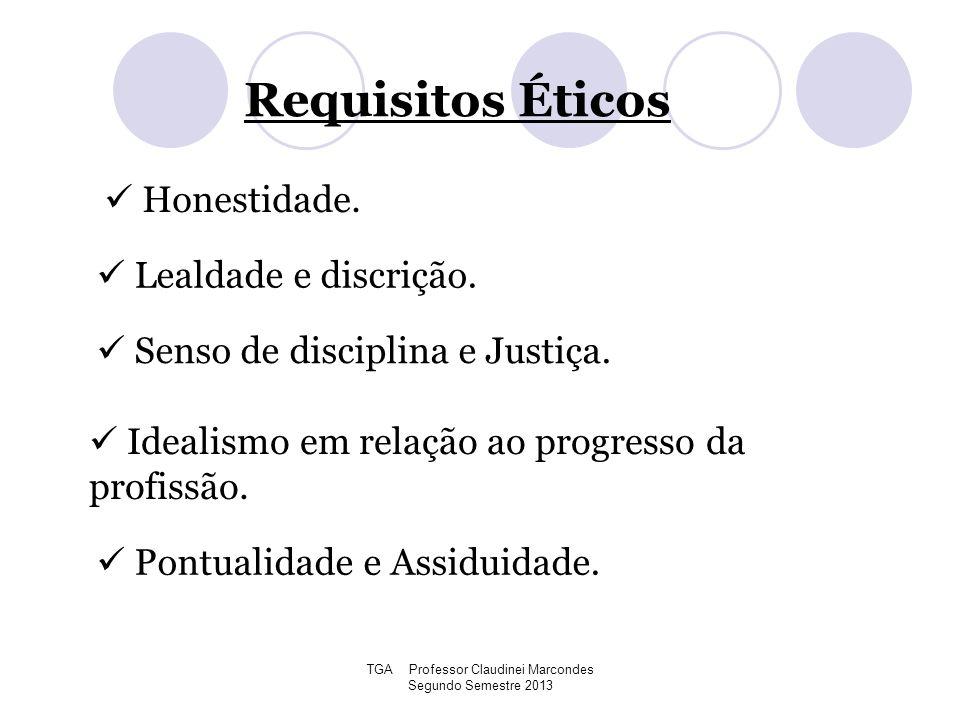 TGA Professor Claudinei Marcondes Segundo Semestre 2013 Requisitos Éticos Honestidade. Lealdade e discrição. Senso de disciplina e Justiça. Idealismo