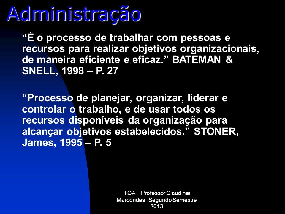 TGA Professor Claudinei Marcondes Segundo Semestre 2013 É o processo de trabalhar com pessoas e recursos para realizar objetivos organizacionais, de m