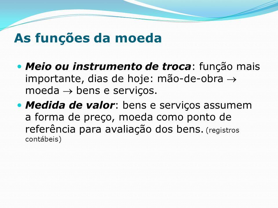 As funções da moeda Meio ou instrumento de troca: função mais importante, dias de hoje: mão-de-obra moeda bens e serviços.