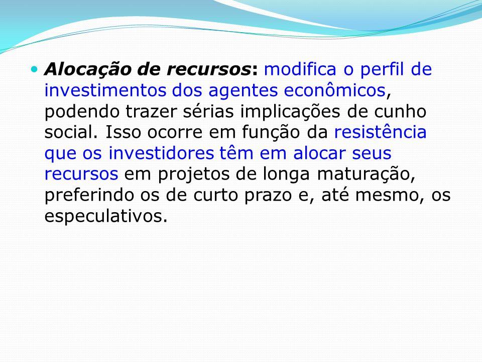Alocação de recursos: modifica o perfil de investimentos dos agentes econômicos, podendo trazer sérias implicações de cunho social.