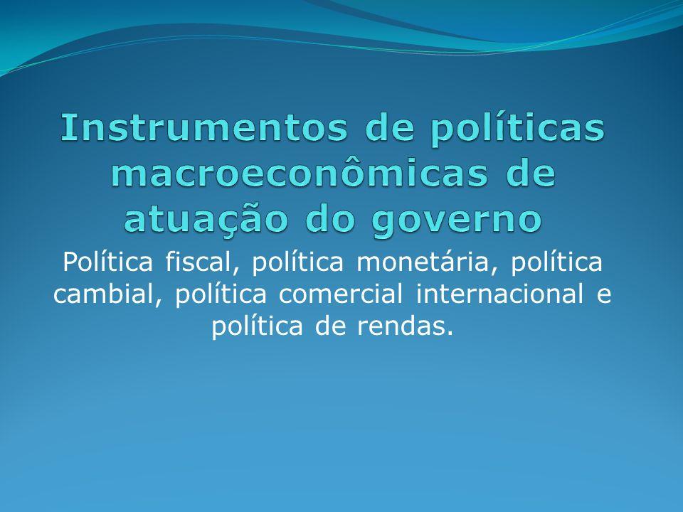 Política fiscal: Ação do Governo com relação aos gastos e receitas (impostos e taxas).