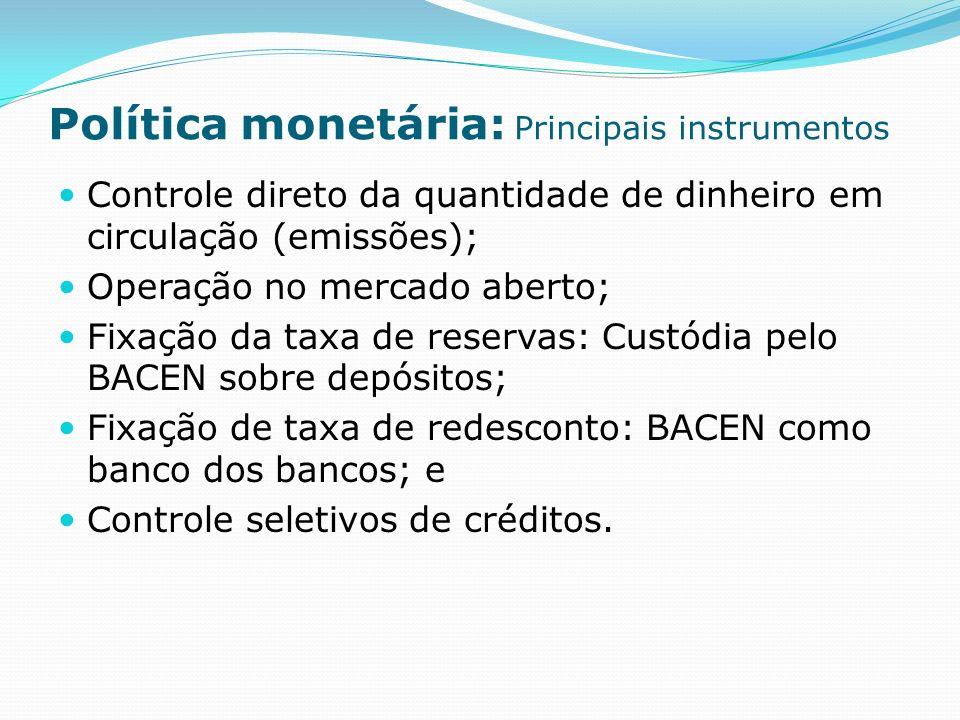 Política monetária: Principais instrumentos Controle direto da quantidade de dinheiro em circulação (emissões); Operação no mercado aberto; Fixação da taxa de reservas: Custódia pelo BACEN sobre depósitos; Fixação de taxa de redesconto: BACEN como banco dos bancos; e Controle seletivos de créditos.