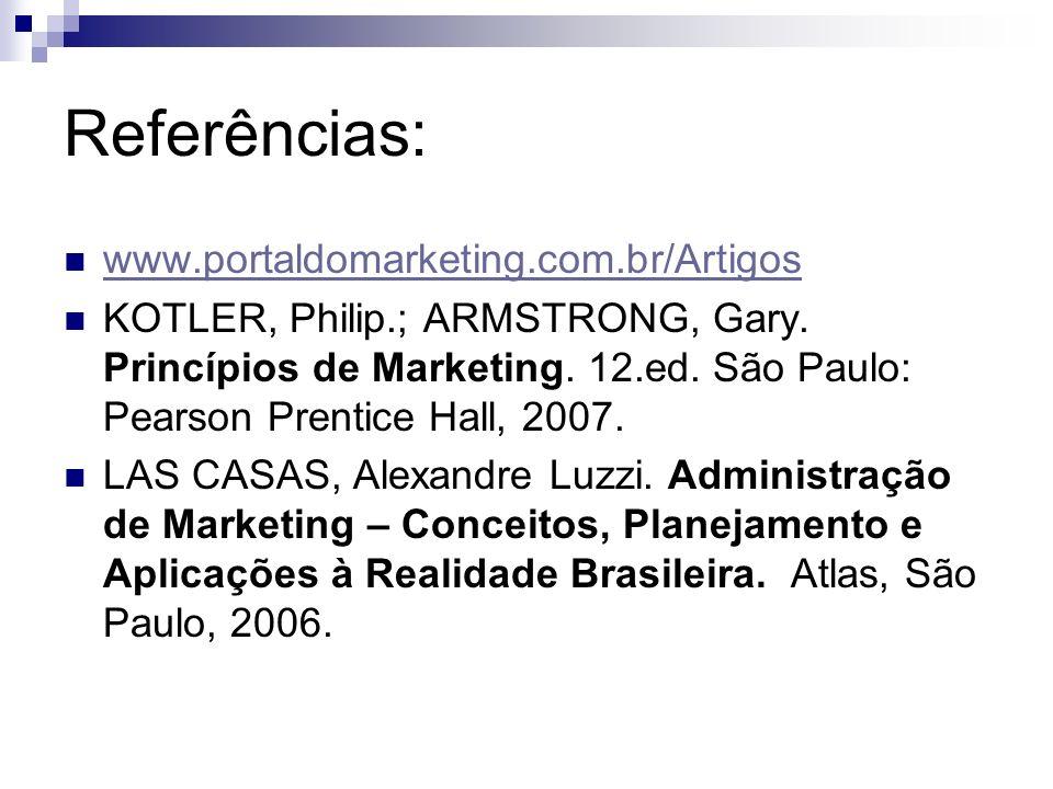 Referências: www.portaldomarketing.com.br/Artigos KOTLER, Philip.; ARMSTRONG, Gary. Princípios de Marketing. 12.ed. São Paulo: Pearson Prentice Hall,